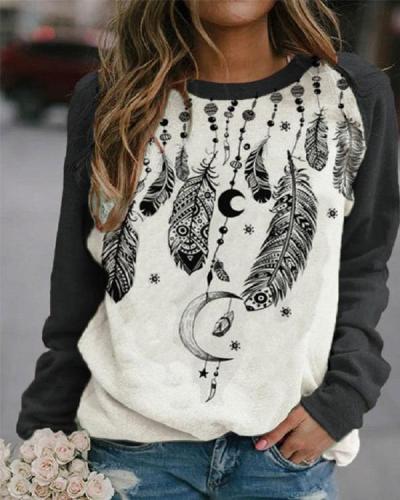 Casual Western Ethnic Feather Print Sweatshirt