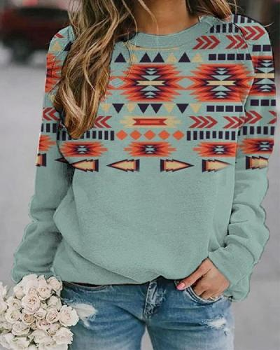 Casual Western Ethnic Aztec Print Sweatshirt