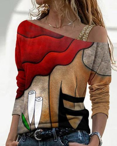 Casual Printed Diagonal Collar Long Sleeve T-Shirt