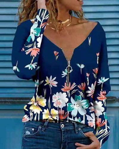 Casual Print Women V Neck Long Sleeve Blouses Tops
