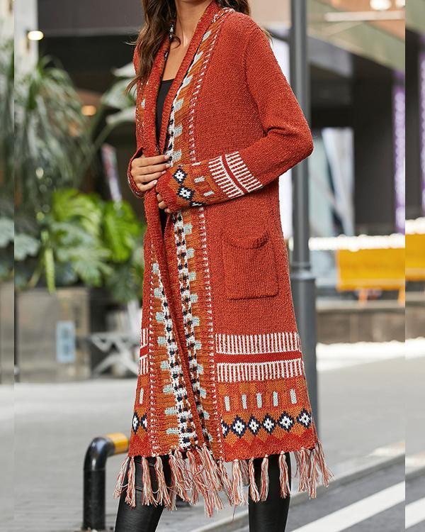 Extra Long Bohemian Knitted Cardigan