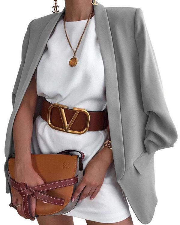 Shawl Collar Solid Classy Office Work Suit Blazer
