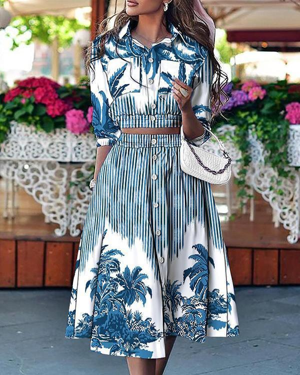 Printed Button Pocket Blouse And Skirt Suit