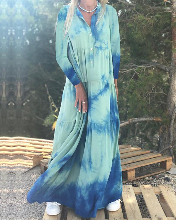 Printed And Dyed Lapel Long-sleeved Dress