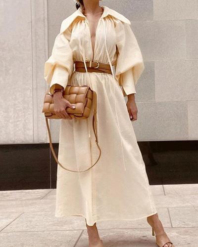 Sexy Slim Fashion Lapel Maxi Dress