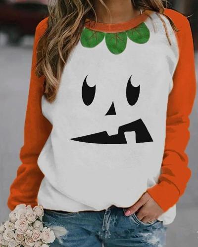 Halloween Funny Expression Print Sweatshirt