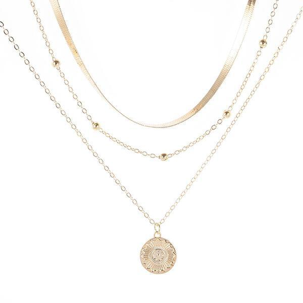 Hottest Layered Alloy With Coin Women's Necklaces 3 PCS