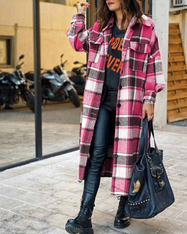 Lapel Plaid Print Woolen Long Coat