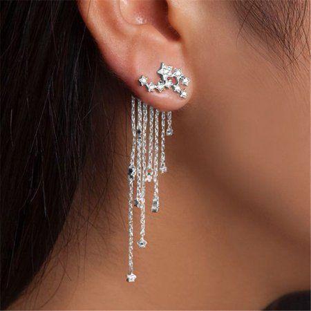 Tassel Design Shining Star Alloy Rhinestone Women Earrings 2 PCS