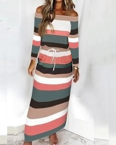 Women's Striped Drawstring One-Shoulder Long Sleeve Dress