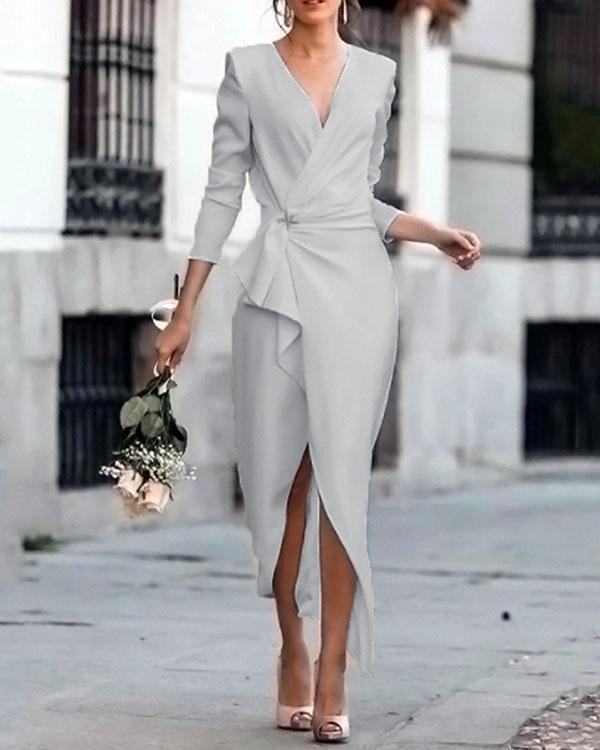 Women's Slim Fit Wrap Dress Asymmetric Midi Dress Elegant Work Dress