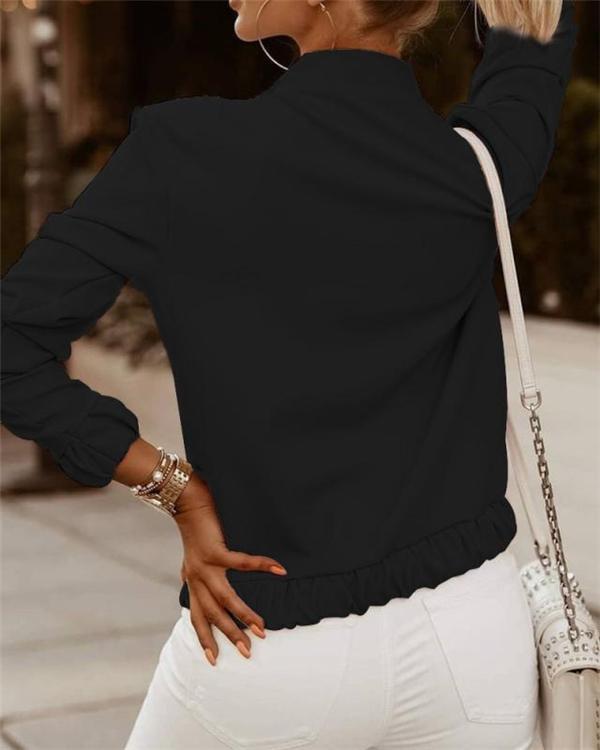 Women's Jackets Zip Embellished Long Sleeve Jacket
