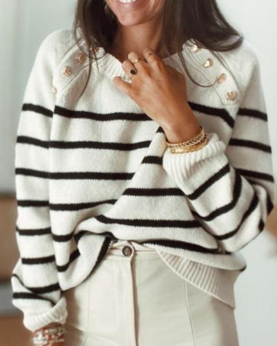 Casual Long-sleeve Round Neck Stripe Button Decor Autumn Sweater