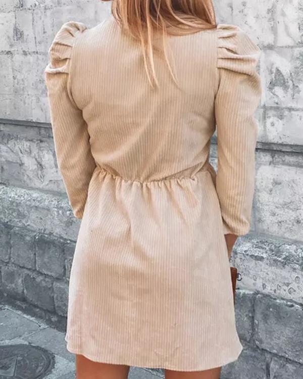 Ruffles Puff Sleeve V Neck Mini Dress