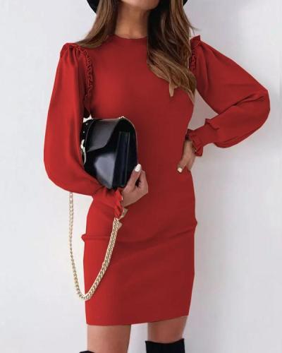 Solid Split Joint O Neck Slim Mini Dress