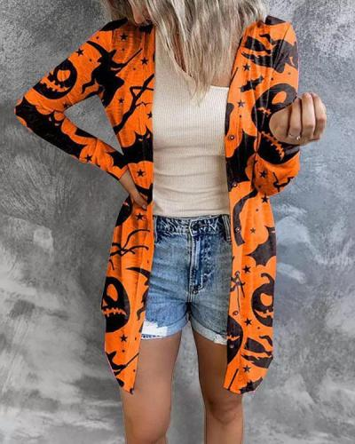 Early Fall Slim Fit Long Button Cardigan Halloween Element Print Outerwear