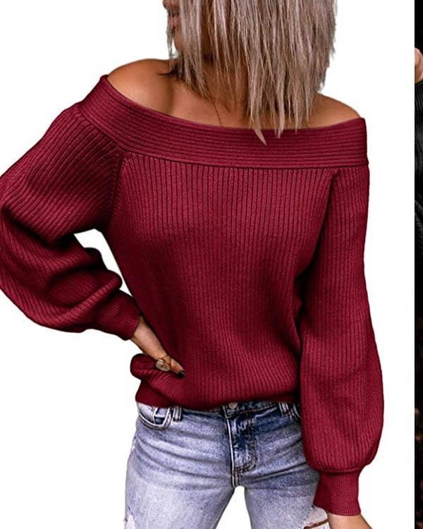 Casual Lantern-sleeve Off Shoulder Rib Knitting Sweater