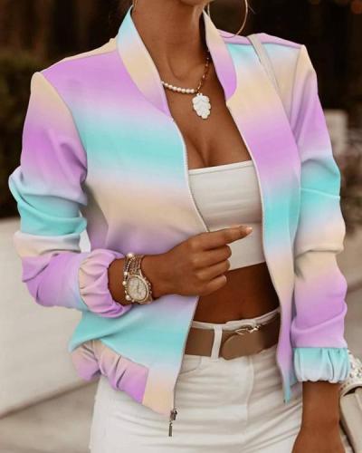 Rainbow Ombre Long Sleeve Zip Up Jacket