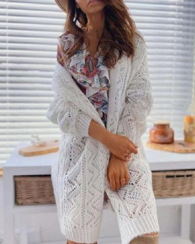 Mohair Geometric Pattern Crochet Hollow out Cardigan Long Outerwear