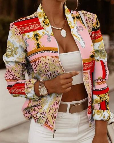 Floral Print Long Sleeve Zip Up Jacket