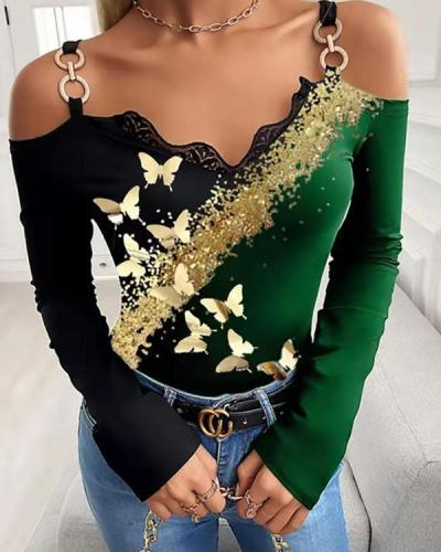 Sexy V-neck butterfly Print Off-Shoulder Strap Long-sleeved Top