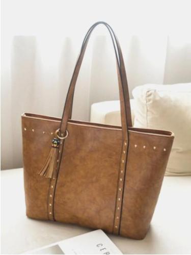 Vintage Tassel Decor Strengthen Shoulder Strap Tote Shoulder Bag With Zipper Pocket