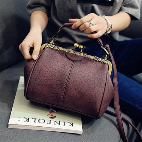 Women Vintage Hasp Bucket Bags PU Leather Crossbody Bags