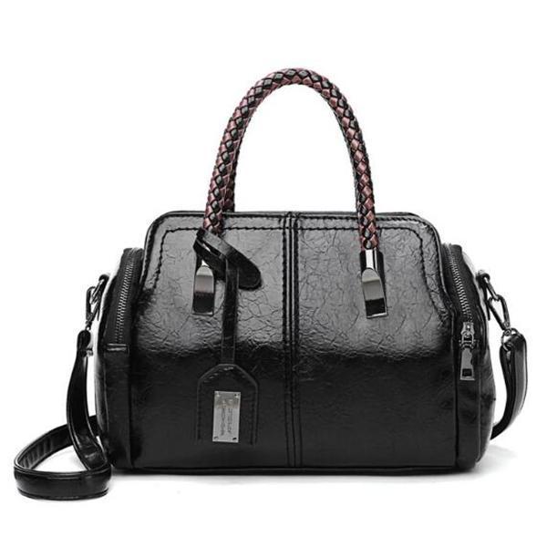 Vintage High Quality Leather Solid Rivet Female Handbags