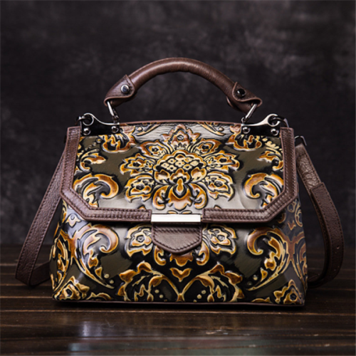 Cowhide Embroidery Handbags Vintage Craft Shoulder Crossbody Bags