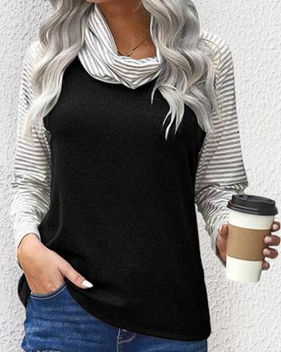 Color Block Striped High Neck Long Sleeves T-shirts