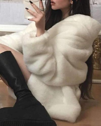 Warm Big Lapel Long Sleeve Plain Elegant Coats