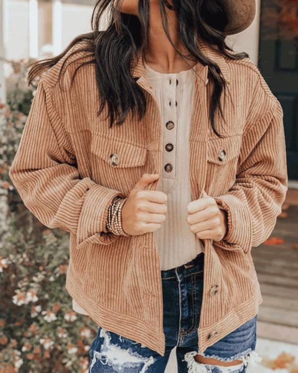 Women Fashion Cardigan Corduroy Jacket