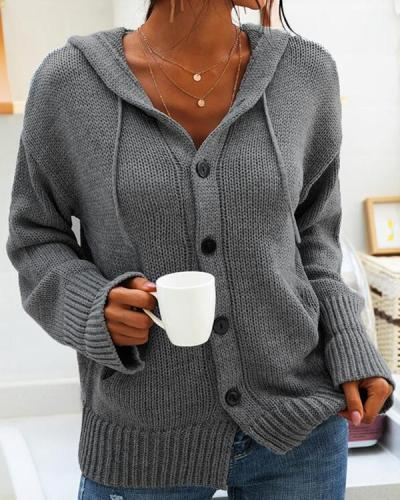 Patchwork Buttons Drawstring Comfy Hooded Going out Cardigan