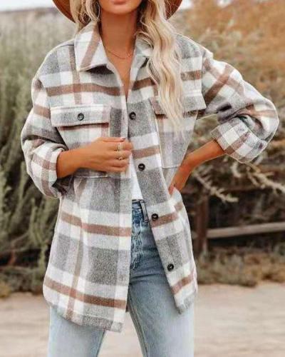 Autumn Winter Plaid Fashion Woolen Oversized Coat