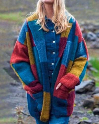 Vintage Style Colorblock Loose Warm Knitting Cardigan Warm Coat With Pocket