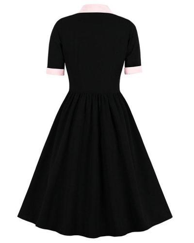 Vintage Contrast Pink & Black Elegant Button Midi Dress A-Line Dress