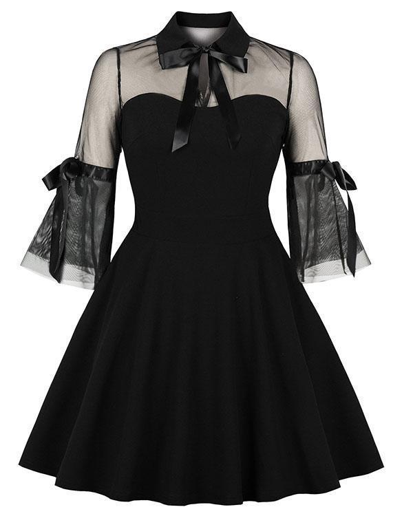 Sexy Lace Stitching Bow-Knot Black Retro Mini Dress