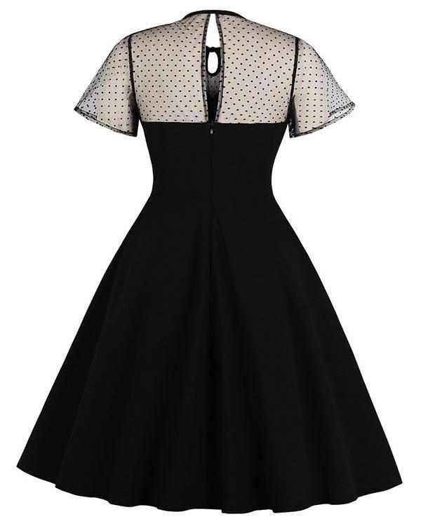 Elegant Lace Stitching Short Sleeve Polka Dot Midi Dress