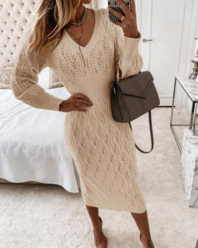 Sexy Long-sleeved Knitted Dress