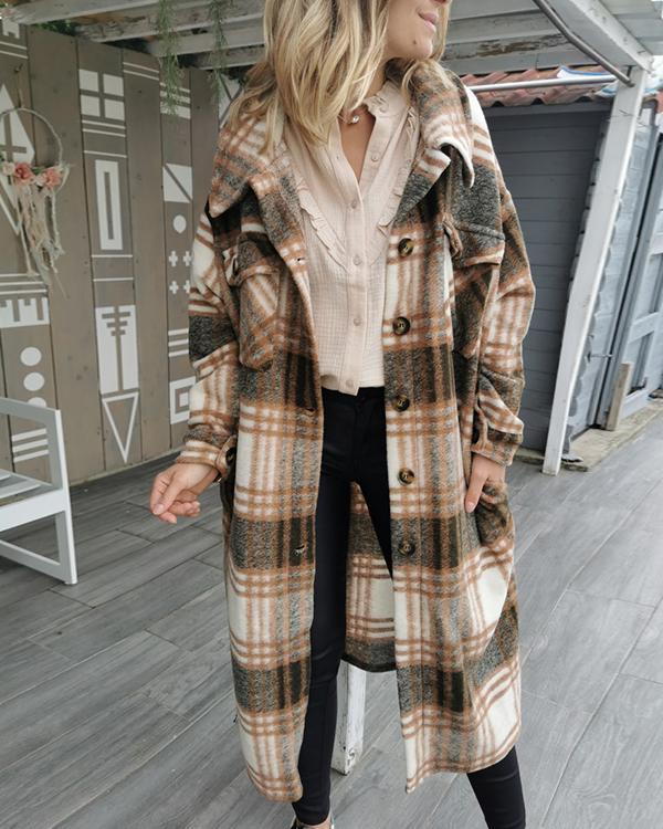 Women Fashion Grid Long Sleeve Overcoat