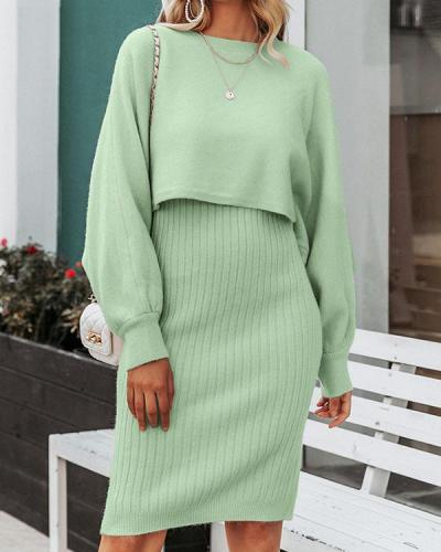 Two-piece Fashion Solid Color Knitted Dress