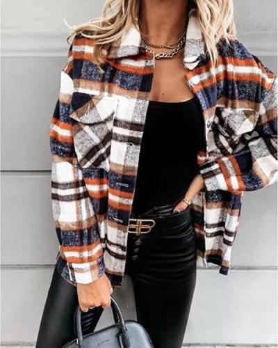 Loose casual retro plaid long-sleeved shirt jacket