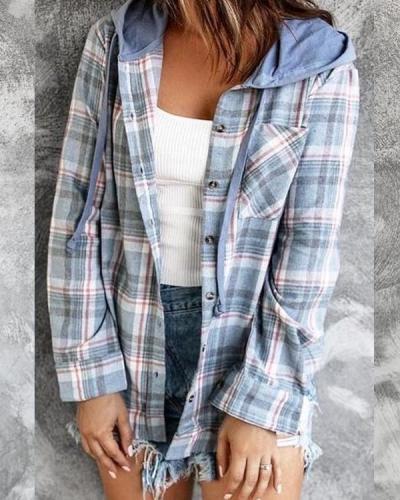 Plaid Hooded Loose-fitting Jacket Coat