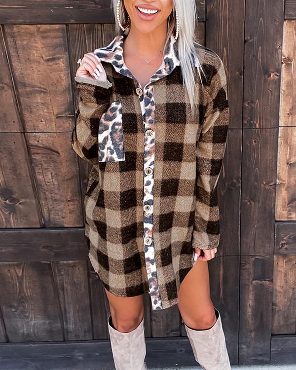 Plaid Cheetah Print Stitching Jacket