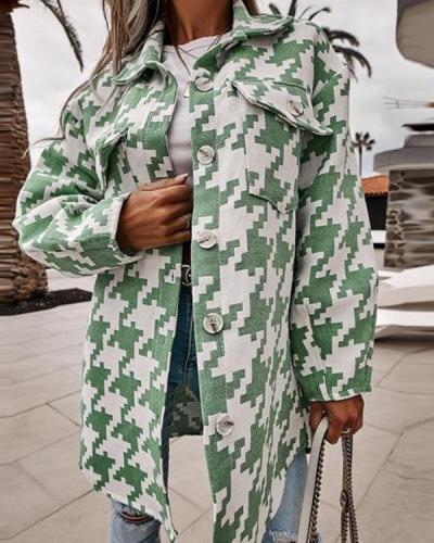 Houndstooth Plaid Cotton-Blend Coat