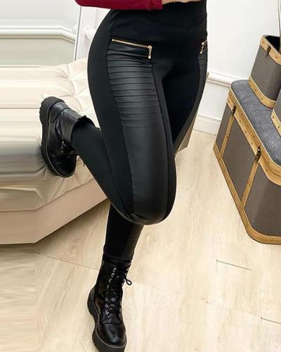 Contrast Panel Zipper Detail Faux Leather Pants