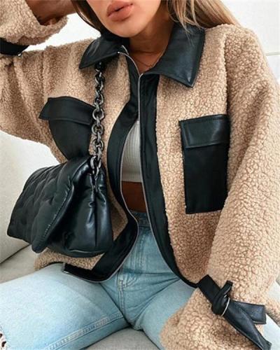 Lamb wool stitching warm autumn and winter long-sleeved jacket