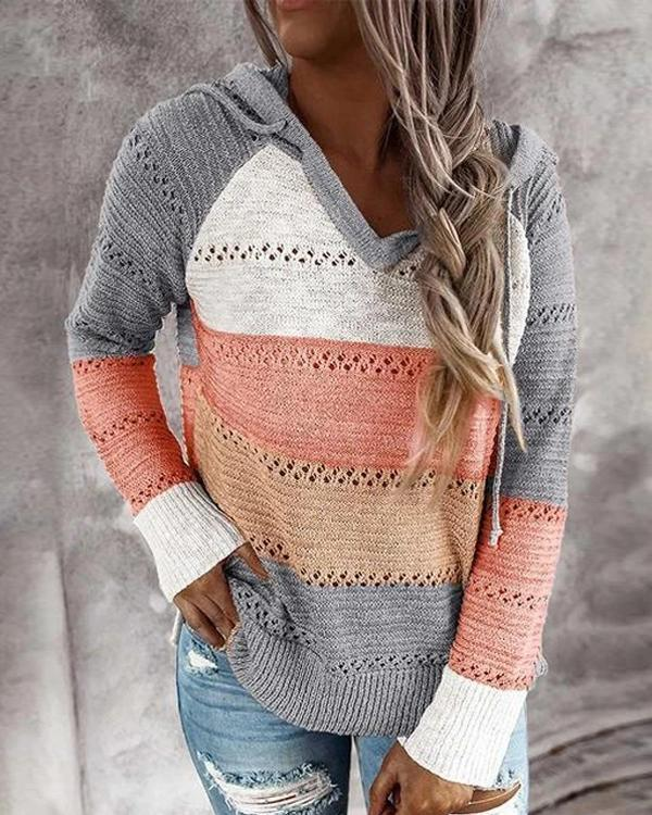 Hollow Out Knitted Lightweight Hoodie Sweater