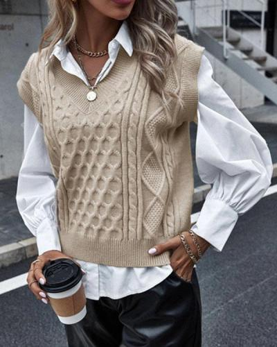 Sleeveless Sweater Cable Knit Solid Autumn Vest
