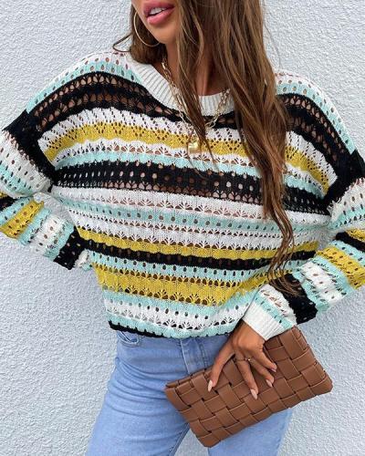 Hollow Round Neck Striped Sweater